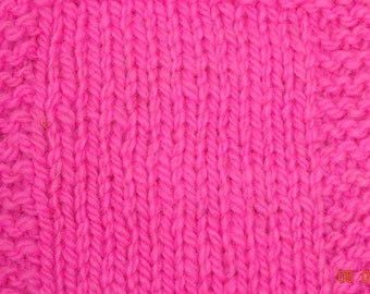 Neon Pink worsted wool yarn 230 yd skein from our farm