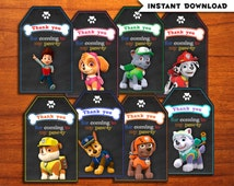 Paw Patrol Favor Tags.  PERSONALIZED! INSTANT DOWNLOAD. Paw Patrol Party Favors. Paw Patrol Party Favor Tags.