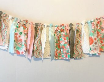 Coral and mint fabric banner, baby shower banner, fabric garland, rag tie garland , birthday banner, coral mint gray nursery