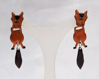 Horse fire large enamel earrings