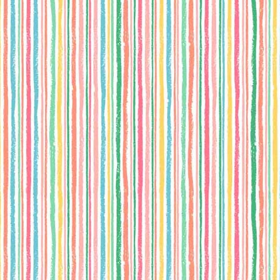 Rainbow stripes fabric crayon colors striped material for Rainbow color stripe watch