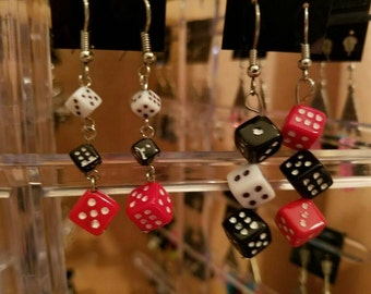 Dice drop earrings 2 PAIRS