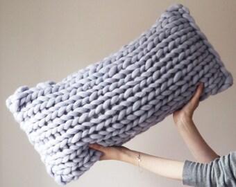 Chunky knit grey oblong cushion - Scandinavian modern light grey rectangular knitted throw cushion - oblong throw pillow, Chunky knit pillow