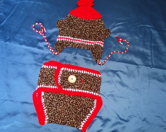 Sock Monkey diaper and hat set