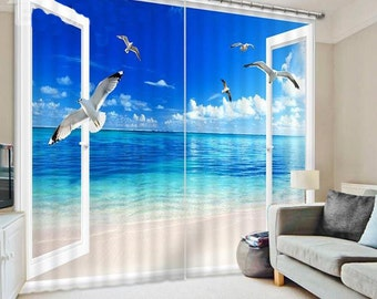 New Seagulls Flying into the Window Print 3D Blackout Curtain