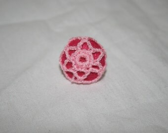 Bright pink and light pink crochet button earrings