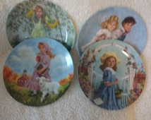 Mother Goose Collectors Plate Set of Four John McClelland Jack and Jill A Tisket A Tasket Little Bo Peep Mary Had A Little Lamb