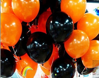 50pieces Halloween balloon combo 10 inches 2.3 grams of inferior smooth, thick decorative balloons orange and black baloons