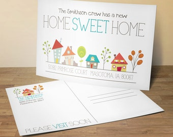 Home Sweet Home Postcards, New Home Announcement, New Address Postcards, Set of 25 5x7 Postcards,