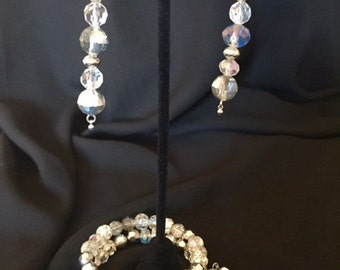 crystal expandable and earring bracelet set