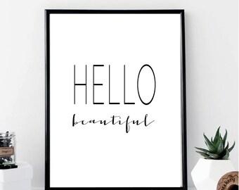 Hello Beautiful Print // Minimalist Poster // Wall Art Print // Fashion // Typography // Fashion // Scandinavian // Boho // Modern