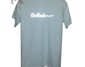 t shirt outlock reflective, light shines, t shirt white, gray, black