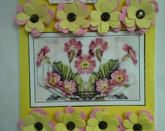 3d flowers and decoupage romance card