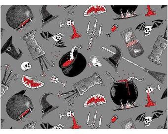 "Halloween Fabric: Oddities Halloween Potions & Brew witch  100% cotton fabric by yard 36""x43"" (K35)"