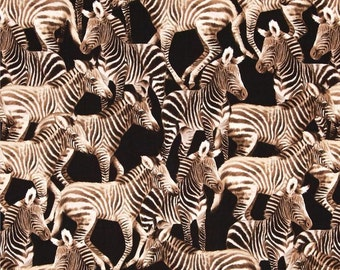 """Safari Animal Fabric: Zebra Allover Black by Michael Searle for Timeless Treasures  100% cotton Fabric by the YARD 36""""x44""""  (K142)"""