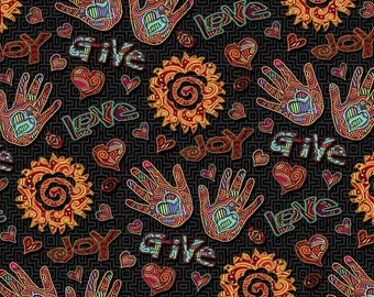 """Latin Fabric Joy Words Multi By Springs Creative 100% cotton Fabric By The Yard 36""""x43""""  (K303)"""