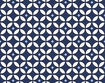 """DIAMOND GEO Navy Blue by Baby Boutique - Geometric Fabric  100% cotton Fabric by the yard 36""""x43"""" (QT55)"""