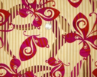"Butterfly Fabric:  Kanvas Studio Moxxoni Butterfly Stripe by Beartex 100% cotton Fabric by the yard 36""x44"" (P171)"