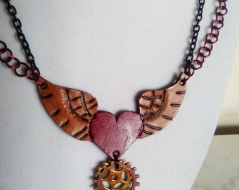 SteamPunk Winged Heart Necklace