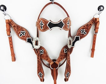 Tooled Cross Handmade Leather Western Barrel Trail Horse Bridle Headstall Breast Collar Tack Set Made To Order