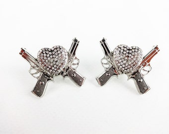 "Two 1-1/2"" Silver Bling Pistol Heart Single Post Repair Arts & Crafts Western Bridle Repair Concho"