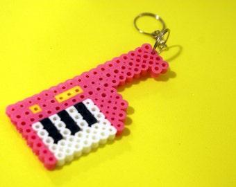 80s Mini Keytar Keychain Perler Beads