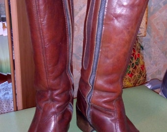 boots year 60 s / 70 s stuffed brown leather fringe Paul!