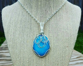 Silver wire wrapped turquoise pendant necklace