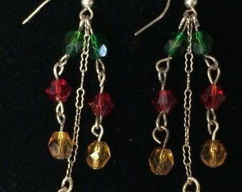 Dangle Red, Green, Gold Earrings
