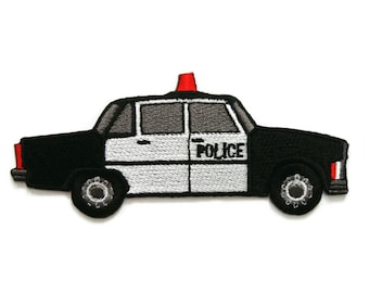 Police Car Embroidered Applique Iron on Patch 11 cm. x 4.6 cm.