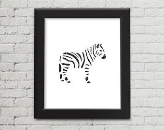Black and White, Popular Wall Art, Nursery Print, Zebra Wall Art, Zoo Animal Print, Safari Animal, Printable Art, Instant Download, Digital