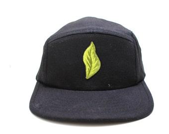 5 panel snapback hat x leaf nature patch cap