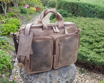 "Vintage Leather backpack  Handmade Rucksack Leather Laptop bag Leather Briefcase Men 17"" Laptop Backpack Gifts For Men  Messenger bag"