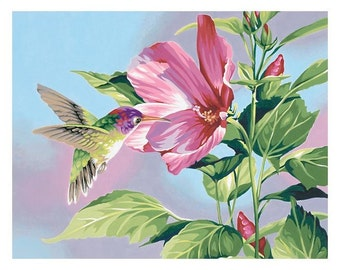 "Paint Works -Paint by Number Kit 11"" X 14 - Hibiscus Hummingbird"
