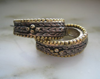 Vintage Napier Gold & Silver Tone Half Hoop Pierced Earrings