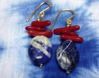 Earrings with coral and stone Jasper