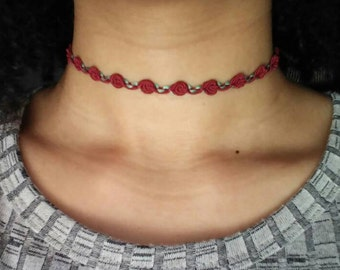 Burgundy Rose choker