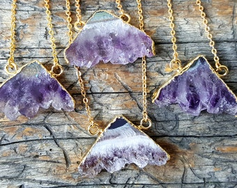 Polished Amethyst Cluster Slice Necklace -  stone jewelry - 383