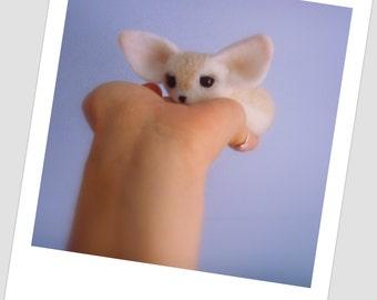 Needle felted fox. Fox brooch . Home Decor. Miniature fox. Dolls fox .  Felt toy fox fenech.  As a gift fox. Realistic Fox Fenech.