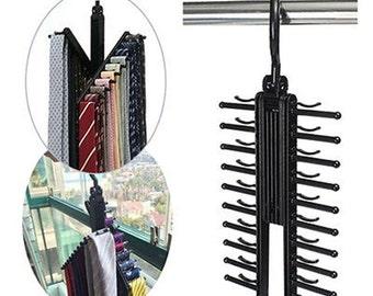 Adjustable 360 Rotating 20 Tie Belt Scarf Compact Hanger Rack Holder Organiser
