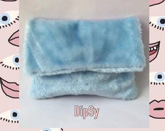 Love Letter Fur Clutch (Light Blue