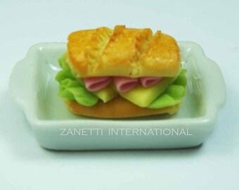 Dollhouse Miniature Ham Cheese Sandwich on a Ceramic Tray - Mini Food