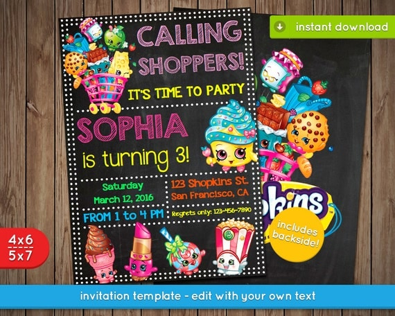 graphic regarding Shopkins Printable Invitations named Shopkins Invites Template: Shopkins Invitation Printable