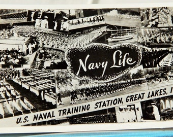 US Naval Training Station, Great Lakes Illinois, WWII Rare Postcard, Sent June 12, 1944 Right After D-Day; Military Collectible Item, Nice!