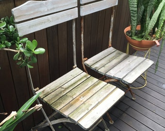 pair of french provincial retro vintage bistro rustic fold up chairs