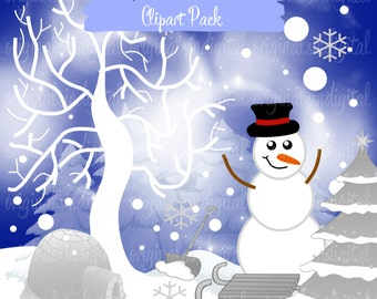 Items similar to Winter Wonderland clipart, Woodland animals ...