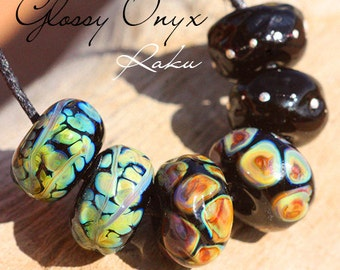 Onyx Raku Organics glass lampwork beads handmade for Jewelry Design