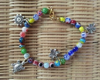Colorful beads with charms