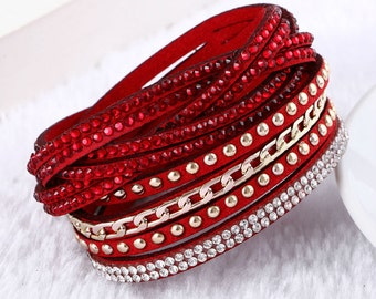 Crystal Leather Studded Multi Strap Bracelet Red