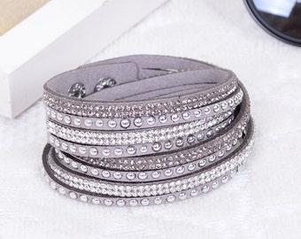 Crystal Swarovski Elements Leather Strap Bracelet Grey